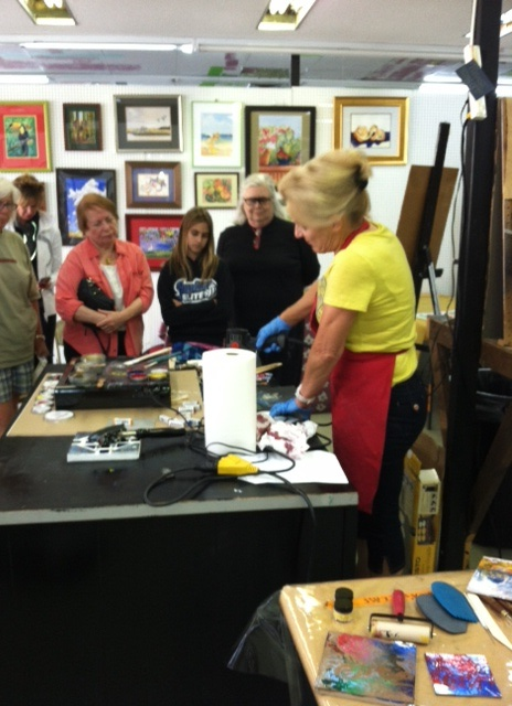 Demonstrating encaustic a