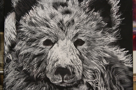 scratch art...clayboard covered with indiaink...then you scratch into the ink and get back to the white clay